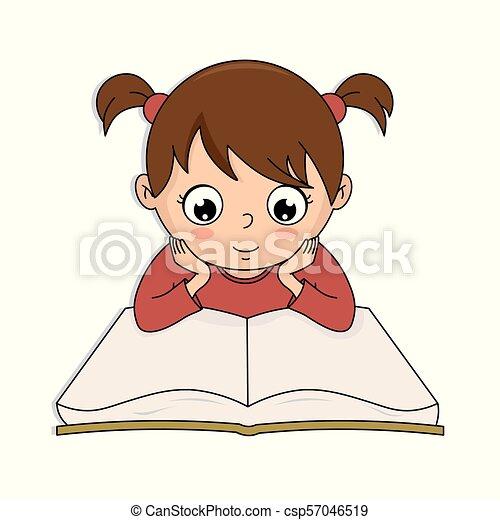 Una chica leyendo un libro - csp57046519