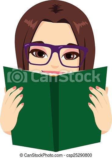 lectura de la muchacha, libro - csp25290800