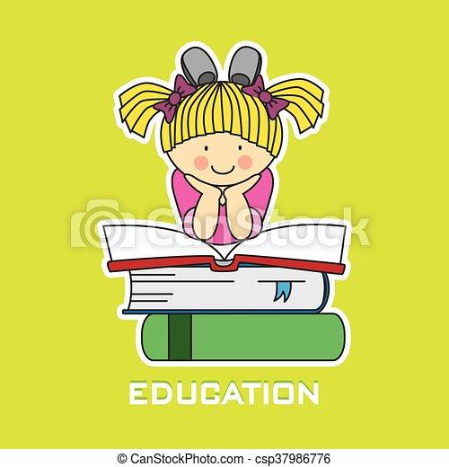 Una chica leyendo un libro - csp37986776