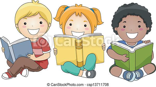 lectura, libros, niños - csp13711708