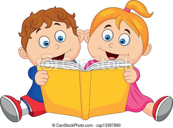 Niños leyendo un libro - csp13397890