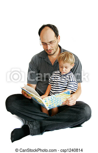 Padre e hijo leyendo libros - csp1240814