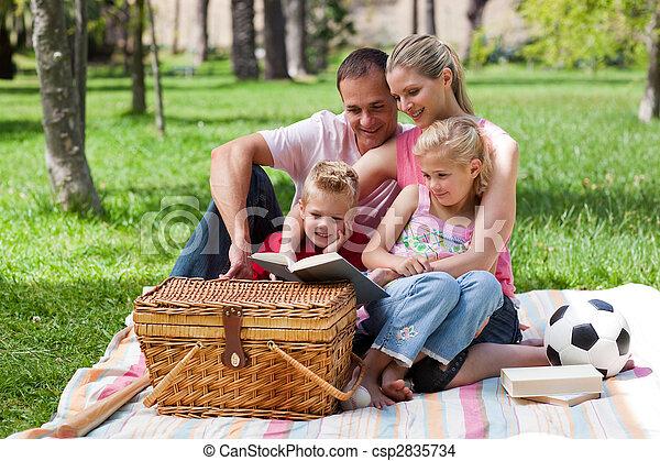 lectura, parque, familia , feliz - csp2835734