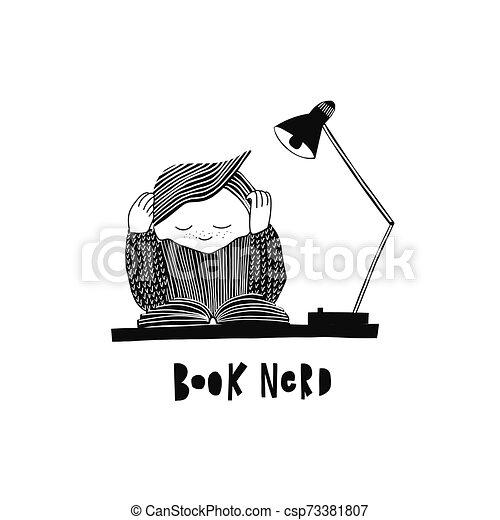 Leyendo ilustraciones de libros de tipografía - csp73381807