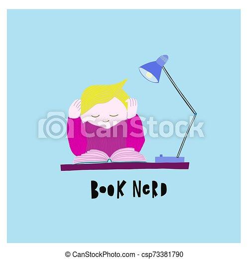 Leyendo ilustraciones de libros de tipografía - csp73381790