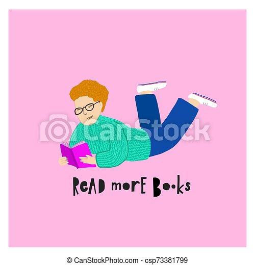 Leyendo ilustraciones de libros de tipografía - csp73381799