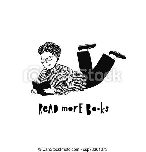 Leyendo ilustraciones de libros de tipografía - csp73381873