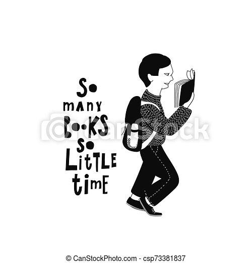 Leyendo ilustraciones de libros de tipografía - csp73381837
