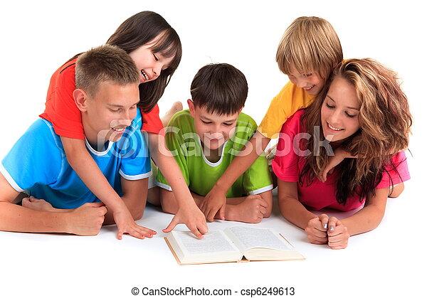 lecture, enfants, livre - csp6249613