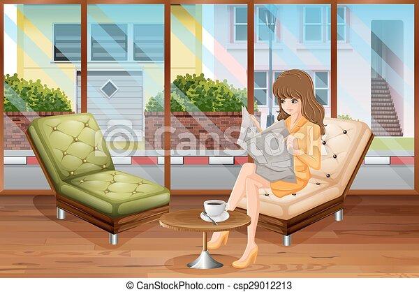 lecture femme - csp29012213