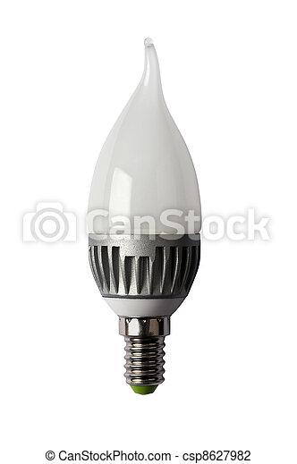 LED energy safing bulb. CA37 E14. Isolated object - csp8627982