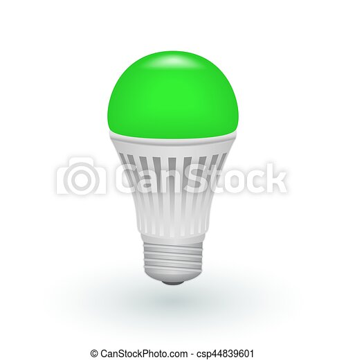Led green economical light bulb isolated on a white background. save ...
