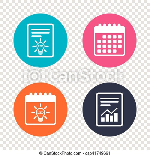 report document calendar icons led light lamp icon energy symbol transparent background vector can stock photo