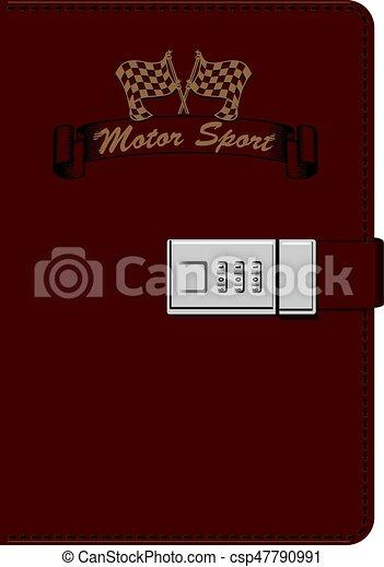 leder, aantekenboekje, sportende, motor, minnaar - csp47790991