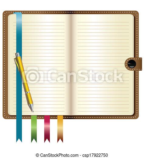 leder, pen, aantekenboekje, goud - csp17922750