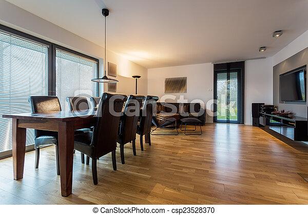 Leder, Tisch, Stühle, Langer   Csp23528370