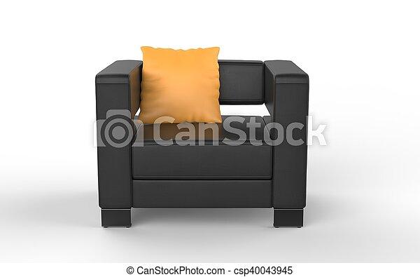 Ledersessel Modern ledersessel modern gelber schwarz kissen stockfoto