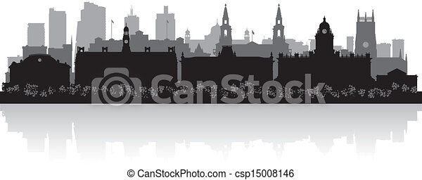 Leeds city skyline silhouette  - csp15008146