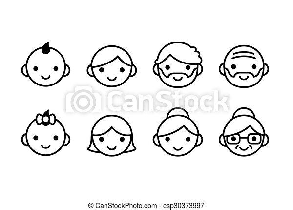 leeftijden, iconen - csp30373997