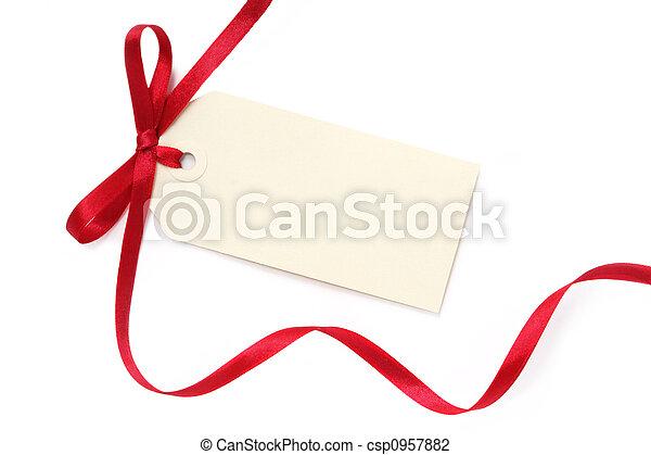 leeg, label, geschenk buiging - csp0957882