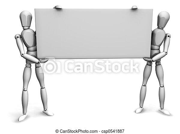 leeg, mannen, vasthouden, meldingsbord - csp0541887