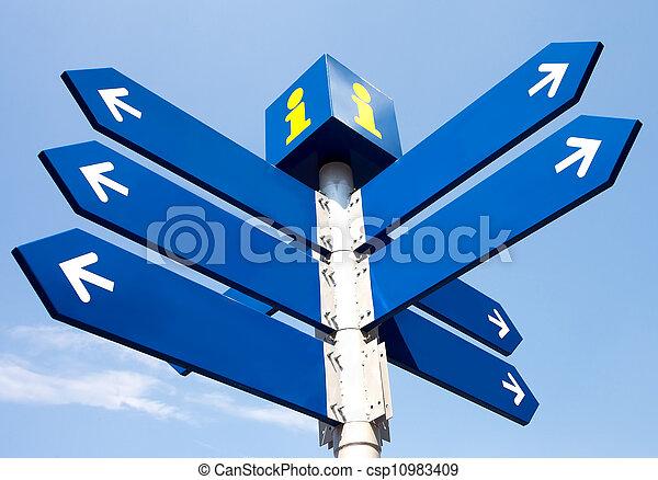 leeg, richting, wegaanduidingen - csp10983409