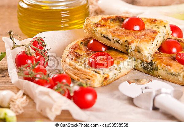 Leek and tomato quiche. - csp50538558
