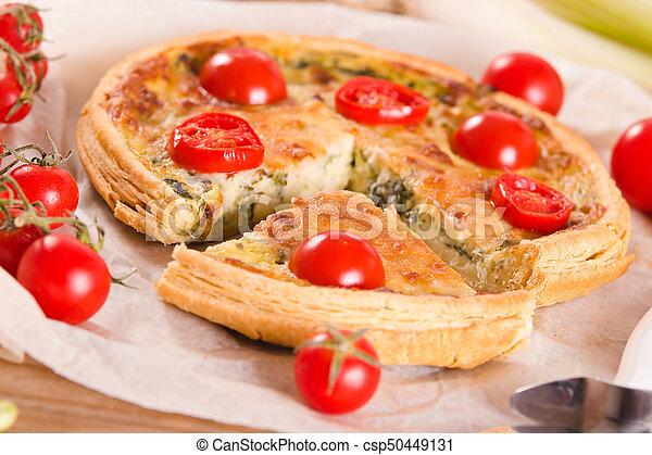 Leek and tomato quiche. - csp50449131