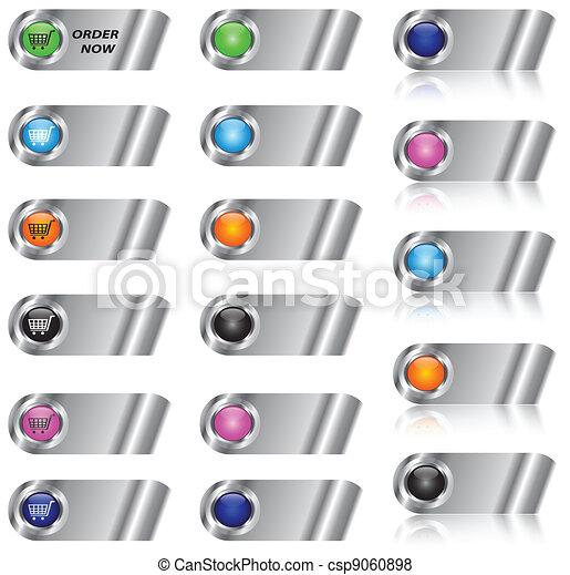 E-Commerce und leeren Button/Icon Set - csp9060898