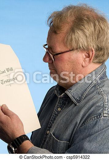 leest, docume, leeftijd, wettelijk, testament, middelbare , het herzien, testament, hogere mens - csp5914322