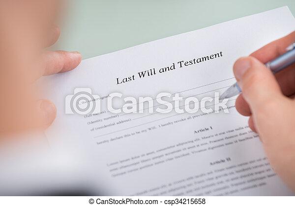 leest, vorm, op, hand, testament, persoon, testament - csp34215658