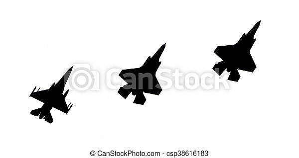 LEEUWARDEN, THE NETHERLANDS - JUNE 10, 2016: F-16 and 2 F-35 Lightning (silhouette) II flyby on it's European debut at the Royal Netherlands Air Force Days - csp38616183