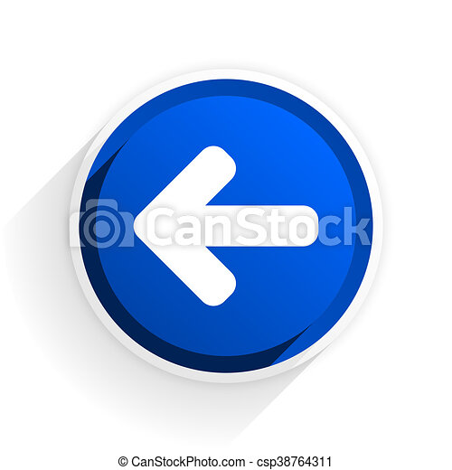 left arrow flat icon with shadow on white background, blue modern design web element - csp38764311