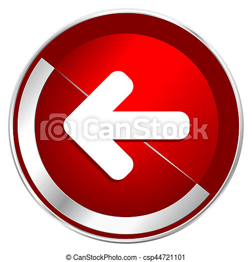 Left arrow red web icon. Metal shine silver chrome border round button isolated on white background. Circle modern design abstract sign for smartphone applications. - csp44721101