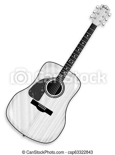Left Handed Acoustic Guitar A Typical Left Handed Acoustic Guitar Line Drawing Isolated Over A White Background