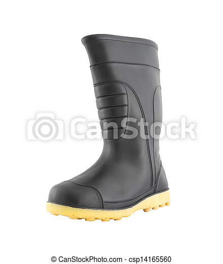 4ee0421956 Left side of rubber black boot shoe on white background. - csp14165560