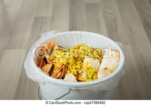 Food Waste In A Plastic Trash Can Stock Photo 17627653