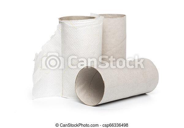 Leftover tissue paper roll on white background. - csp66336498