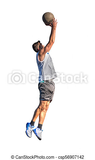 Lefty basketball player jump on white - csp56907142