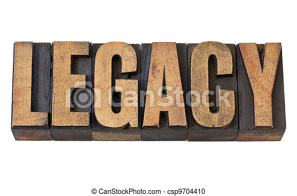 legacy word in vintage wood type - csp9704410