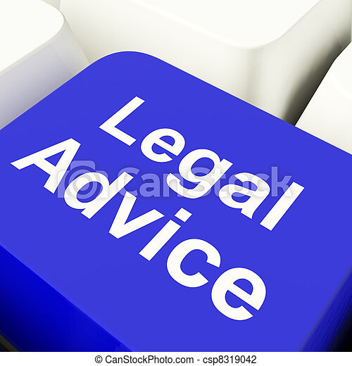 Legal Advice Computer Key In Blue Showing Attorney Guidance - csp8319042