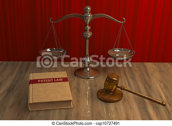 Legal attributes: gavel, scale and law book - csp10727491