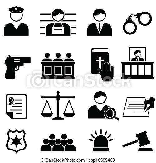 Legal, justice and court icons - csp16505469