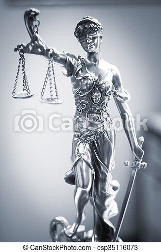 Legal justice statue in law firm office - csp35116073