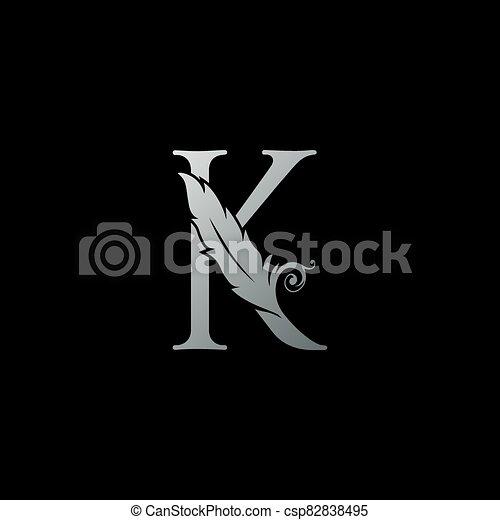 legal, oficial, abogado, icon., carta, lujo, ley, concepto, pluma, k, logotipo, monogram, diseño, notary, firma - csp82838495