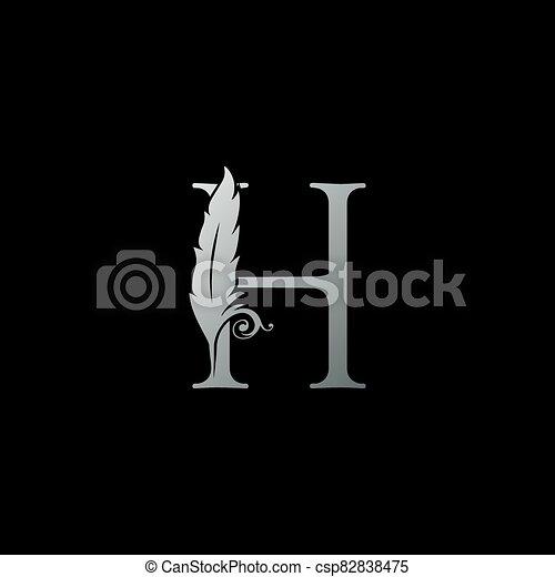 legal, oficial, abogado, icon., h, carta, lujo, ley, concepto, pluma, logotipo, monogram, diseño, notary, firma - csp82838475