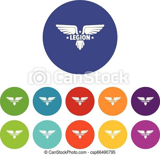 Legion wing icons set vector color - csp66490795