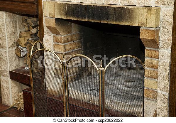 legna ardere, caminetto, sporco, vuoto - csp28622022