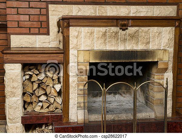 legna ardere, caminetto, sporco, vuoto - csp28622017