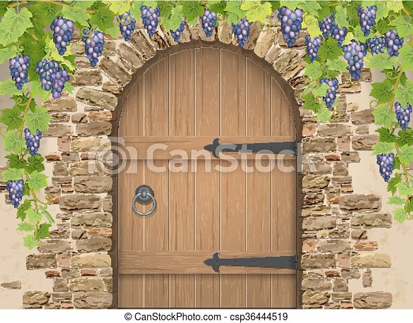 legno, arco, pietra, porta, uva - csp36444519